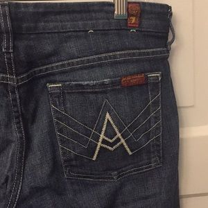7 for all Mankind Dark Wash Wide Leg Jeans